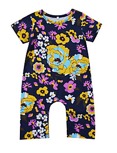 billige Babytøj-Baby Pige En del Daglig I-byen-tøj Blomstret, Modal Forår Sommer Kort Ærme Aktiv Boheme Lilla
