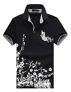 お買い得  メンズポロシャツ-男性用 ワーク - プリント Polo, アジアン・エスニック シャツカラー スリム 水玉 フラワー 動物 コットン