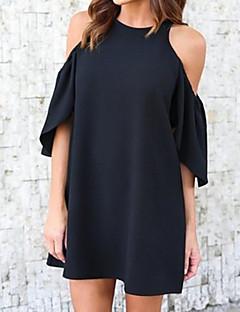 Χαμηλού Κόστους Little Black Dresses-Γυναικεία Φαρδιά Φαρδιά Φόρεμα - Μονόχρωμο, Βασικό Πάνω από το Γόνατο Ψηλή Μέση Ώμοι Έξω Μαύρο