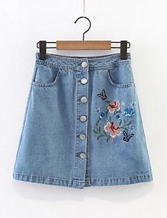 cheap Women's Skirts-Women's Active Basic Denim A Line Skirts - Floral