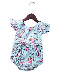 levne Dívčí oblečení-Dívčí Denní Dovolená Květinový Soupravičky, Umělé hedvábí Léto Podzim Bez rukávů Roztomilý Aktivní Světle modrá