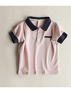 billige Overdele til drenge-Drenge Daglig Ensfarvet T-shirt, Polyester Sommer Halvlange ærmer Basale Hvid Lyserød Gul Lyseblå