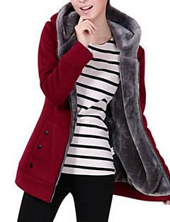 baratos Moletons com Capuz e Sem Capuz Femininos-Mulheres Básico Jacket Hoodie Sólido / Inverno