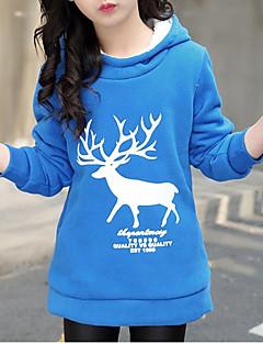 billige Hættetrøjer og sweatshirts til piger-Pige Bluse Bomuld Vinter Efterår Langærmet Tegneserie Blå Rød