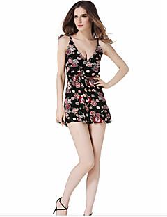 billige Jumpsuits og sparkebukser til damer-Dame Bomull Skinny Body - Blomstret V-hals Harem