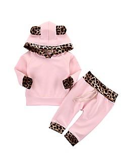 billige Tøjsæt til piger-Baby Pige Ensfarvet Leopard Langærmet Tøjsæt