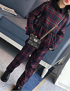 billige Tøjsæt til piger-Pige Tøjsæt Ternet Patchwork, Rayon Forår Efterår Langærmet Ternet Grøn Rød