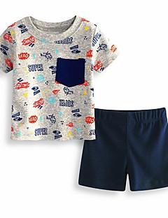 billige Tøjsæt til drenge-Drenge Daglig I-byen-tøj Ensfarvet Geometrisk Trykt mønster Tøjsæt, Bomuld Akryl Forår Sommer Kortærmet Aktiv Basale Grå