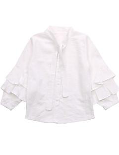 billige Pigetoppe-Pige Daglig Ensfarvet Skjorte, Bomuld Polyester Forår Efterår Langærmet Aktiv Hvid