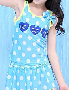 tanie Odzież dla dziewczynek-Dla dziewczynek Urocza Groszki Stroje kąpielowe, Poliester Bez rękawów Niebieski