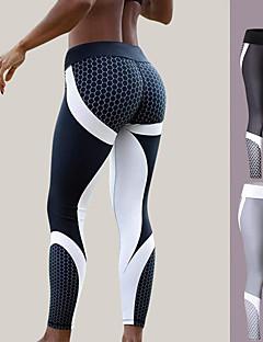 billige Løbetøj-Dame Patchwork Yoga bukser - Hvid, Sort Sport Farveblok Spandex Tights / Leggins Løb, Fitness, Træningscenter Sportstøj Hurtig Tørre Høj Elasticitet