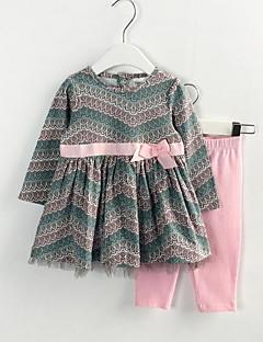 billige Tøjsæt til piger-Pige Daglig Stribet Trykt mønster Tøjsæt, Polyester Forår Langærmet Sødt Army Grøn