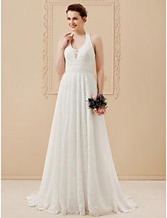 billiga Plusstorlek brudklänningar-A-linje Halterneck Golvlång Heltäckande spets Bröllopsklänningar tillverkade med Spets / Skärp / Band av LAN TING BRIDE® / Öppen Rygg