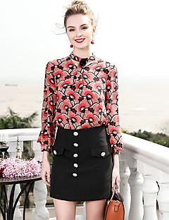 billige Dametopper-Silke Tynn Skjorte Dame - Blomstret, Trykt mønster Vintage
