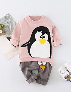 billige Tøjsæt til piger-Unisex Daglig Skole Trykt mønster Tøjsæt, Bomuld Forår Sommer Langærmet Aktiv Lyserød Gul