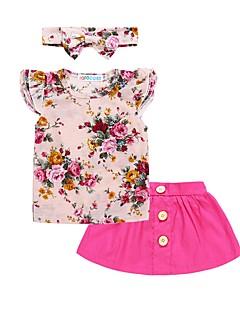 billige Tøjsæt til piger-Pige Daglig Ferie Blomstret Tøjsæt, Bomuld Polyester Forår Sommer Kortærmet Sødt Aktiv Lyserød