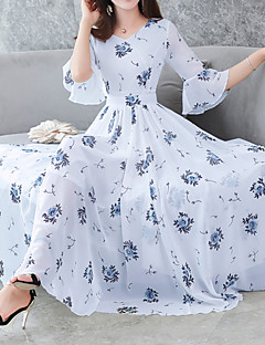 baratos Oferta-Mulheres Tamanhos Grandes Feriado Boho / Sofisticado Delgado Bainha Vestido - Estampado, Floral Decote V Médio / Verão