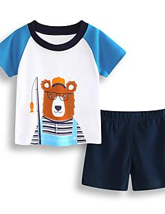 billige Tøjsæt til drenge-Drenge Daglig Ferie Trykt mønster Tøjsæt, Bomuld Akryl Forår Sommer Kortærmet Sødt Aktiv Blå