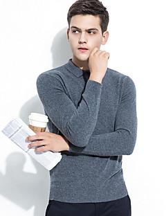 billige Herremote og klær-Herre Ull Langermet Pullover - Ensfarget Skjortekrage