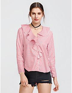 baratos Blusas Femininas-Mulheres Camisa Social Frufru, Listrado Algodão