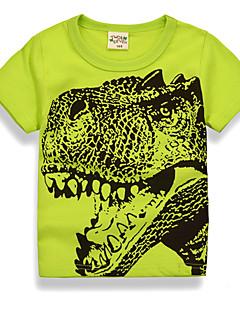 billige Overdele til drenge-Drenge Daglig Ferie Trykt mønster T-shirt, Bomuld Polyester Sommer Kortærmet Basale Grøn Hvid