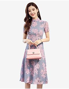 お買い得  レディースドレス-女性用 プラスサイズ アジアン・エスニック スリム シース ドレス フラワー ミディ スタンド