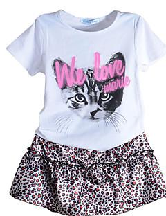 billige Tøjsæt til piger-Børn Pige Trykt mønster Leopard Kortærmet Tøjsæt