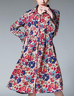 billige Kjoler-Dame Ferie Basale Skjorte Kjole - Blomstret, Trykt mønster Knælang Krave / Sommer