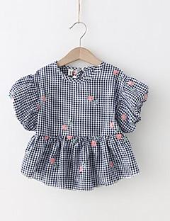 billige Pigetoppe-Pige Ruder Kortærmet T-shirt