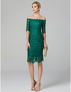 cheap Bandage Dresses-Sheath / Column Off Shoulder Knee Length Lace Over Satin Cocktail Party Dress with Lace by TS Couture® / See Through