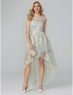 billiga Klänningar till speciella tillfällen-A-linje Scoop Neck Asymmetrisk Organza Cocktailfest / Bal Klänning med Broderad av TS Couture®