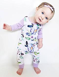 billige Babytøj-Baby Pige En del Daglig Ferie Blomstret, Bomuld Forår Sommer Langærmet Sødt Aktiv Hvid