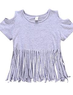 tanie Odzież dla dziewczynek-Dla dziewczynek Codzienny Jendolity kolor T-shirt, Bawełna Poliester Lato Krótki rękaw Urocza Aktywny Gray