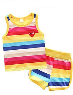 billige Tøjsæt til drenge-Drenge Daglig I-byen-tøj Stribet Tøjsæt, Bomuld Forår Sommer Uden ærmer Sødt Regnbue