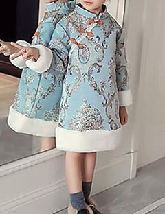 tanie Odzież dla dziewczynek-Odzież puchowa / pikowana Rayon Poliester Dla dziewczynek Impreza Codzienny Patchwork Długi rękaw Vintage Urocza Light Blue