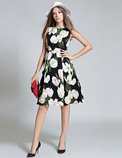 お買い得  ヴィンテージドレス-女性用 ヴィンテージ ストリートファッション Aライン ドレス - プリント, フラワー 膝丈