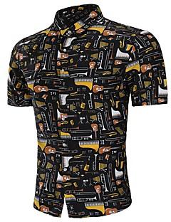 billige Herremote og klær-Skjorte Herre - Geometrisk, Trykt mønster Grunnleggende Chinoiserie