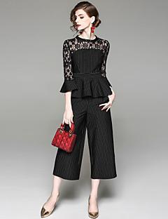 hesapli İki Parça Kadın Takımları-Kadın's Temel Bluz - Dantel, Çizgili Pantolon