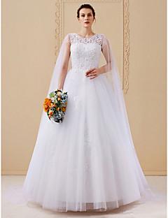billiga Balbrudklänningar-Balklänning Scoop Neck Katedralsläp Satäng / Spets på tyll Smycken tillverkade av brudgummen med Paljett / Spets av LAN TING BRIDE®