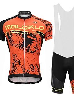 billige Sykkelklær-Malciklo Sykkeljersey med bib-shorts - Hvit Svart Sykkel Sykkelshorts Med Seler Jersey, Fort Tørring, Anatomisk design, Refleksbånd,