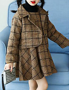 billige Tøjsæt til piger-Pige Tøjsæt Ternet, Bomuld Rayon Polyester Vinter Efterår Langærmet Afslappet Brun Sort