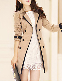 cheap Featured by Bloggers-Women's Long Trench Coat - Solid Colored, Classic Style