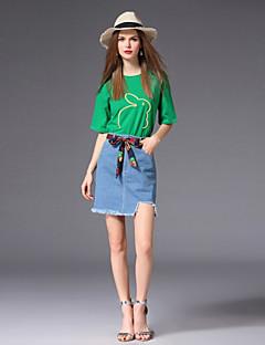 billige Dametopper-T-skjorte Dame - Ensfarget Dyr, Broderi Lapper Søtt Aktiv