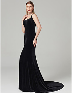 cheap Celebrity Dresses-Sheath / Column Sweetheart Sweep / Brush Train Velvet Formal Evening Dress with Pleats by TS Couture®
