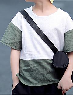 tanie Odzież dla chłopców-Dla chłopców Codzienny Wielokolorowa T-shirt, Len Wiosna Lato Krótki rękaw Aktywny Clover Black Orange