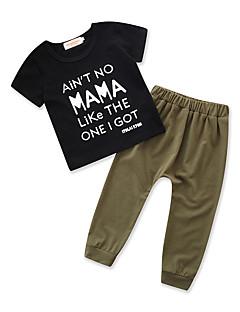billige Tøjsæt til drenge-Drenge Daglig Ferie Ensfarvet Trykt mønster Tøjsæt, Bomuld Polyester Sommer Kortærmet Aktiv Basale Sort