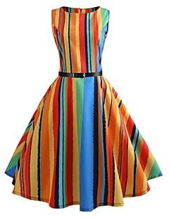 70e74634186f Dame Vintage Swing Kjole - Regnbue