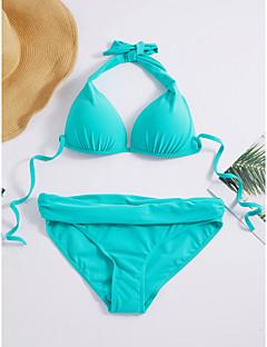 billige Bikinier og damemote-Dame Grime Svart Navyblå Fuksia Underbukser Bikini Badetøy - Ensfarget Grunnleggende L XL XXL / Sexy