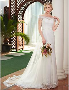 billiga Åtsmitande brudklänningar-A-linje Off shoulder Hovsläp Spets / Tyll Bröllopsklänningar tillverkade med Bård / Pärla av LAN TING BRIDE® / Illusion / Royal Style