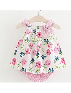 billige Sett med babyklær-Baby Pige Blomstret Uden ærmer Bomuld Tøjsæt
